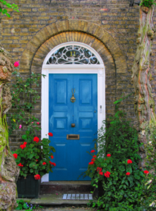 A blue door in a house that was extended by our construction company in Surrey and Hampshire