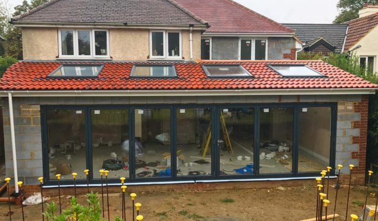 An orangery in progress of being built