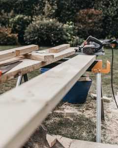 Wood planing on bench