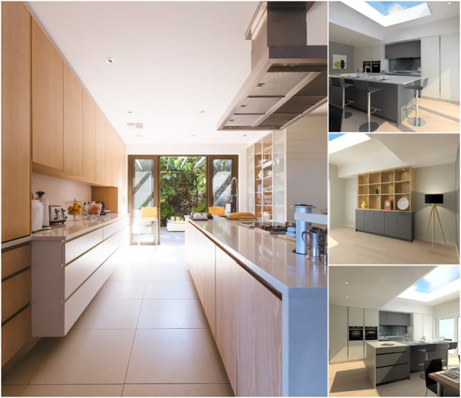 Collage of modern, attractive kitchen images