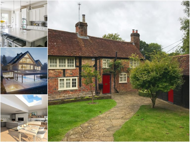 Collection of images relating to NBC, including a classic English red brick home, and more modern contemporary styles of homes, to show the variation of construction work they can provide.